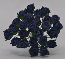 8mm VERY DARK NAVY BLUE SEMI-OPEN ROSE BUDS Mulberry Paper Flowers